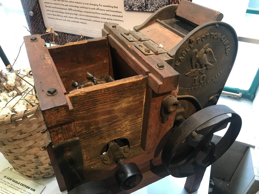 A cotton gin, manufactured in Massachusetts in 1833, on display at the Cotton Museum in Memphis.