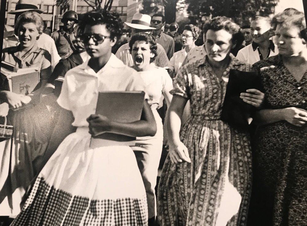An angry crowd taunts Elizabeth Eckford on her way to Little Rock Central High School in 1957.