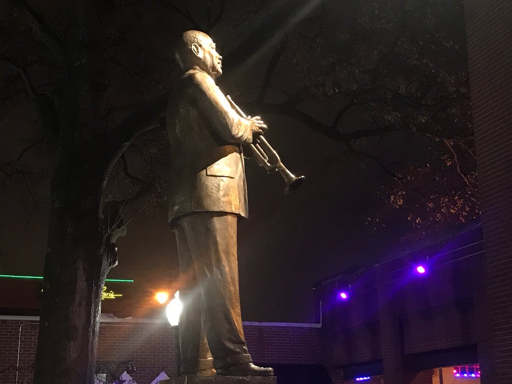 A statue of W.C. Handy, credited with bringing Mississippi Delta blues to Memphis, on Beale Street.