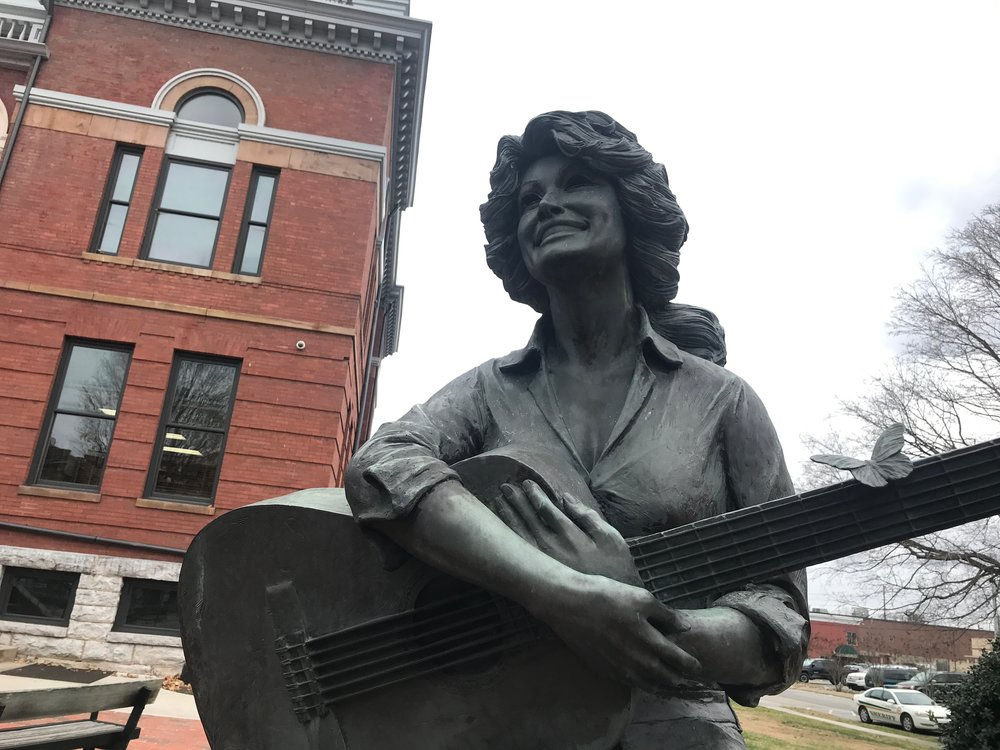 A statue of Dolly Parton, East Tennessee's favorite daughter, outside the Sevier County Courthouse.