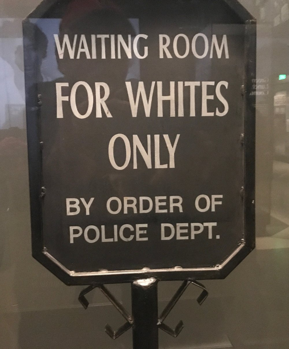 A sign from the Jim Crow South on display at the National Museum of African American History and Culture in Washington, DC.