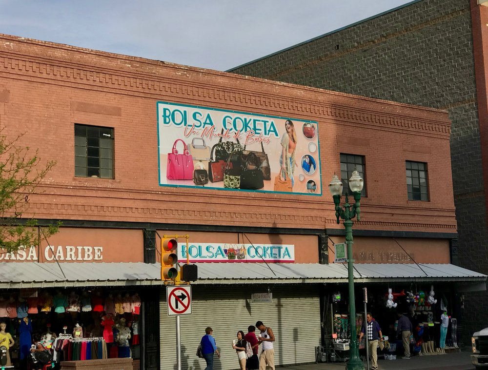 South El Paso Street, which leads to the main border crossing, has a distinctly Mexican feel.