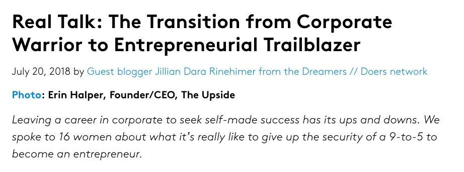 """Real Talk: The Transition from Corporate Warrior to Entrepreneurial Trailblazer - """"I am fueled by more organic motivations – my actions have direct influence on the outcomes. If I succeed it is by my own (or my partners') hand and if I don't, it is only myself to have a conversation with about how to do better in the future."""" — Jes Osrow, Co-founder & COO, The Rise Journey"""