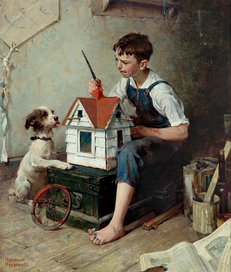 "Painting the Little House, 1921.  Oil on canvas, 28"" x 24""."