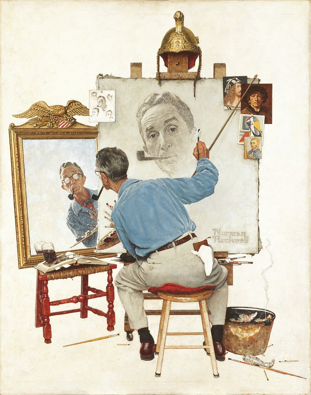 "Triple Self-Portrait, 1959.  Oil on canvas, 44½"" x 34½""."