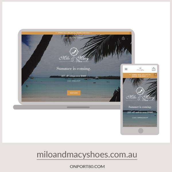 MILO & MACY SHOES   Online Store Design