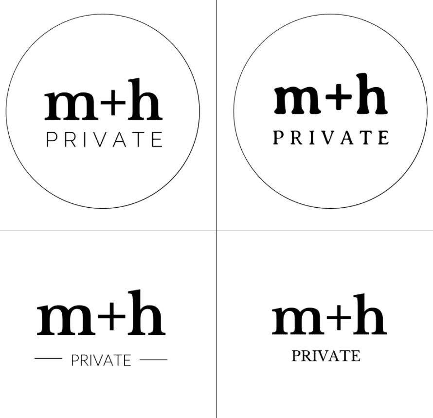 Logo options for M+H Private