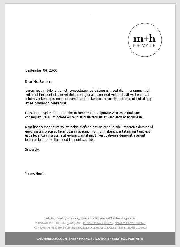 Letterhead for m+h Private, On Port 80 Brand & Web Design, Brisbane, Australia