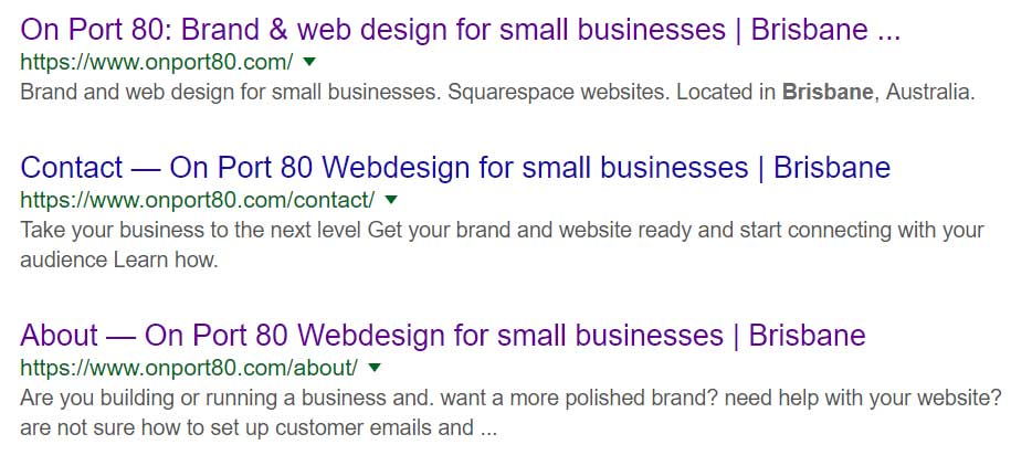 On Port 80, Google search results, SEO in Squarespace, Brisbane, Australia