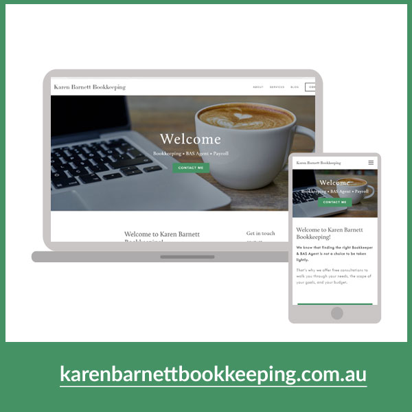 Karen Barnett Bookkeeping, Web design by On Port 80, Brisbane Australia