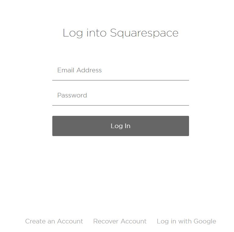 Fill in your details or create a new Squarespace account