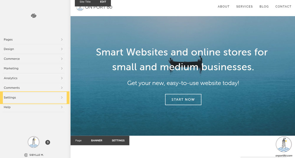 Open the Squarespace settings to start your subscription, On Port 80 Web Design, Brisbane, Australia
