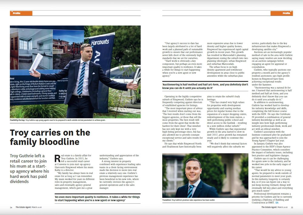 Double-page spread Agent Profile feature in The Journal of the Real Estate Institute of Victoria Magazine (March 2018)