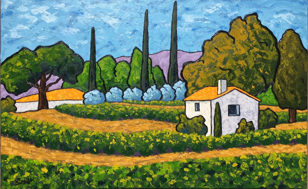 Vineyard Below Le Castellet - 18x29
