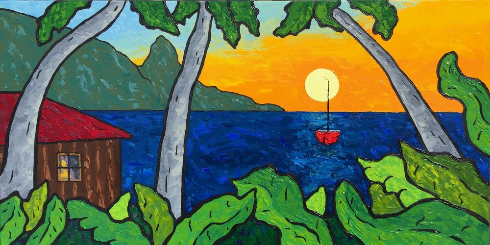 Hanalei Sunset With Red Sailboat - 12x24