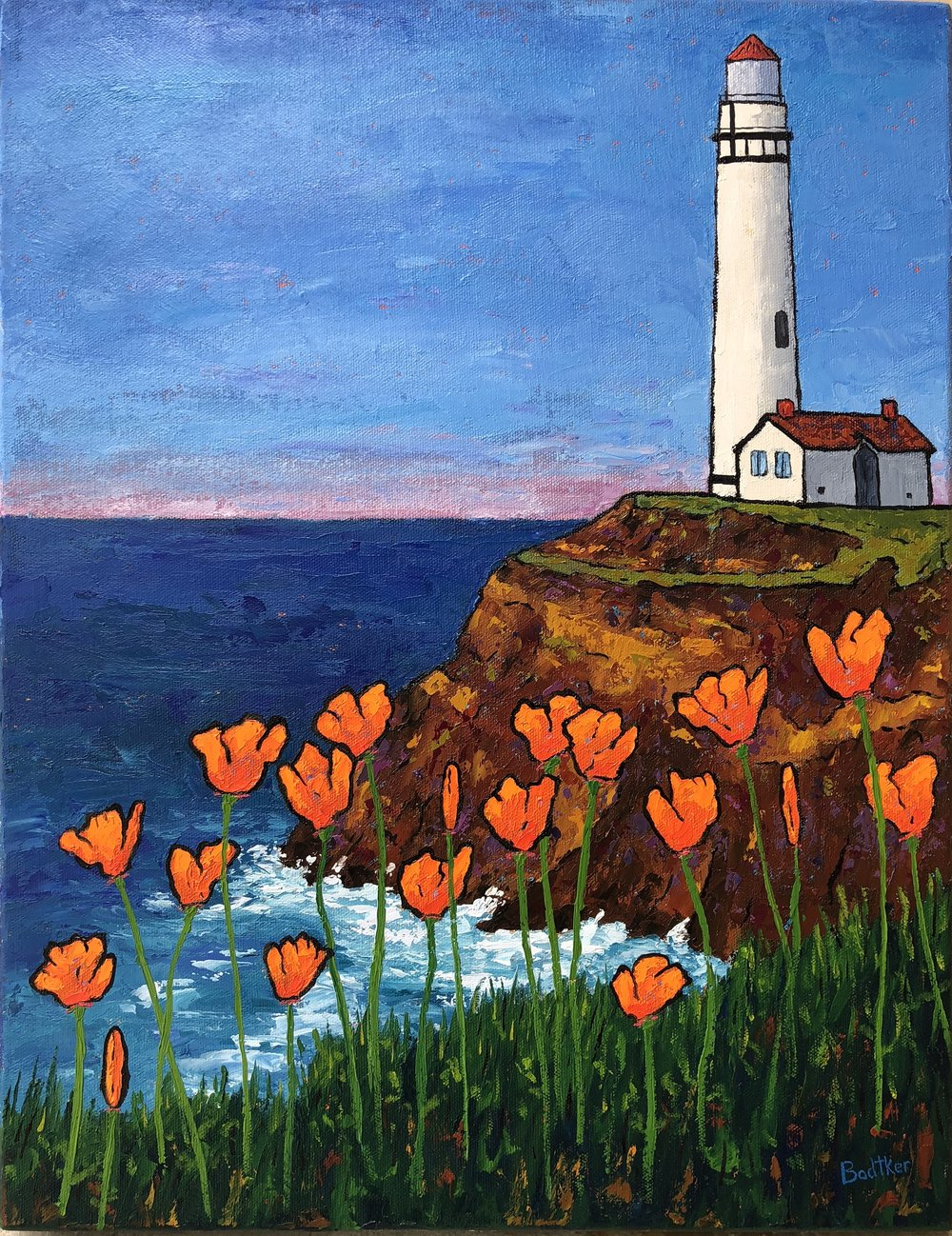 Poppies at Pigeon Point Lighthouse - 18x14
