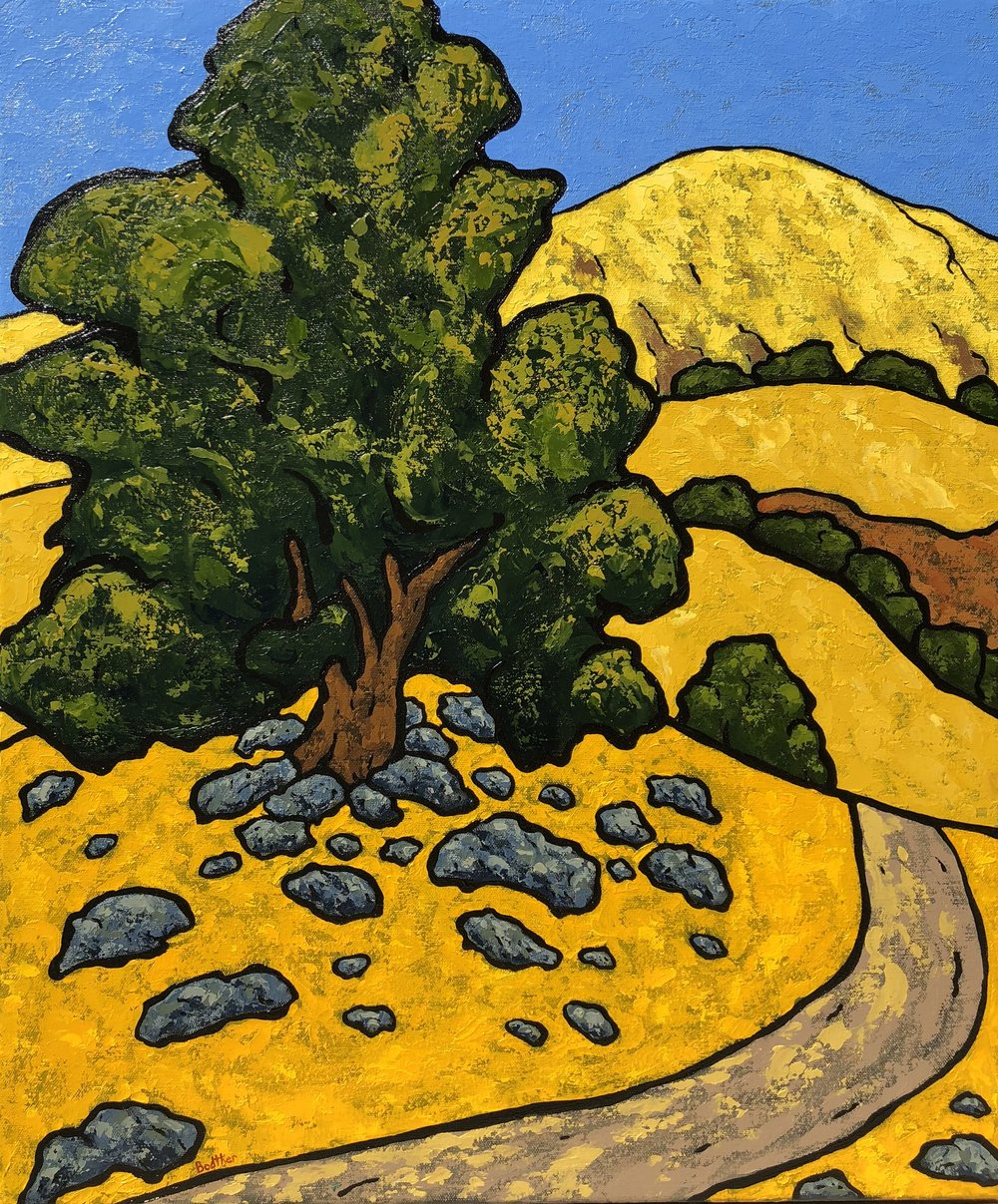 Mission Peak Trail with Oak Tree - 24x20