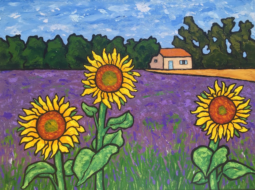 Found the Lavender and Sunflower Field Combo - 12x16