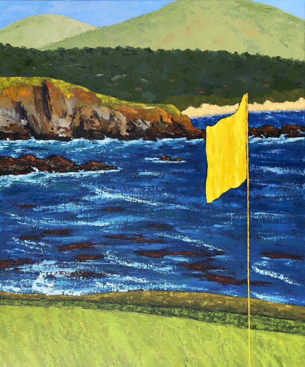18th Flag at Pebble Beach - 24x20