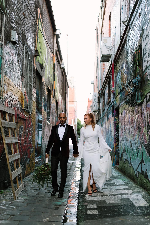 Bridal Portraits, Melbourne City Wedding, Velvet Suit, Royal Wedding, Prince Harry, Duke of Sussex, Elegant, Modest, Yarra Valley Weddings, Melbourne Weddings, Rachel Gilbert, Fowler Flowers, Simple, love, bridal prep, alleyway wedding