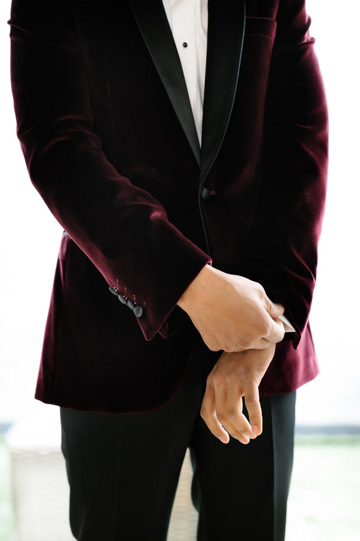 Groom, Smooth, Melbourne City Wedding, Velvet Suit, Red Velvet, Royal Wedding, Prince Harry, Duke of Sussex, Elegant, Modest, Yarra Valley Weddings, Melbourne Weddings, Simple, love, bridal prep