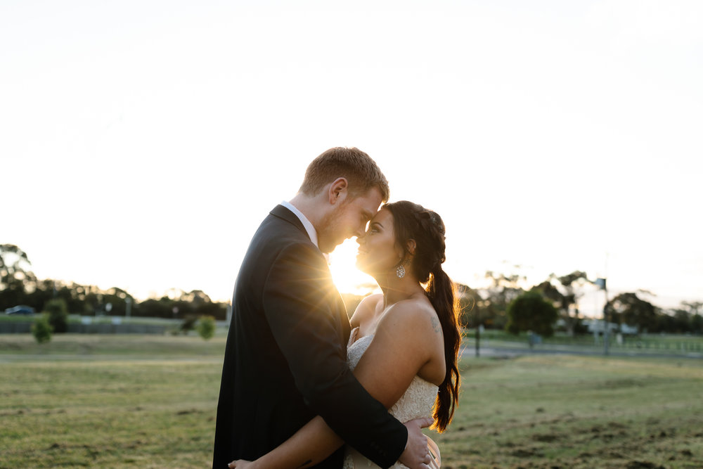 DIY wedding, sunset wedding, sunset, dancing, bridal portraits, first kiss, in love, young love, kiss, emotion, Yarra valley Weddings, Melbourne Weddings, Destination Weddings, Wedding day ready, hello may, lace,