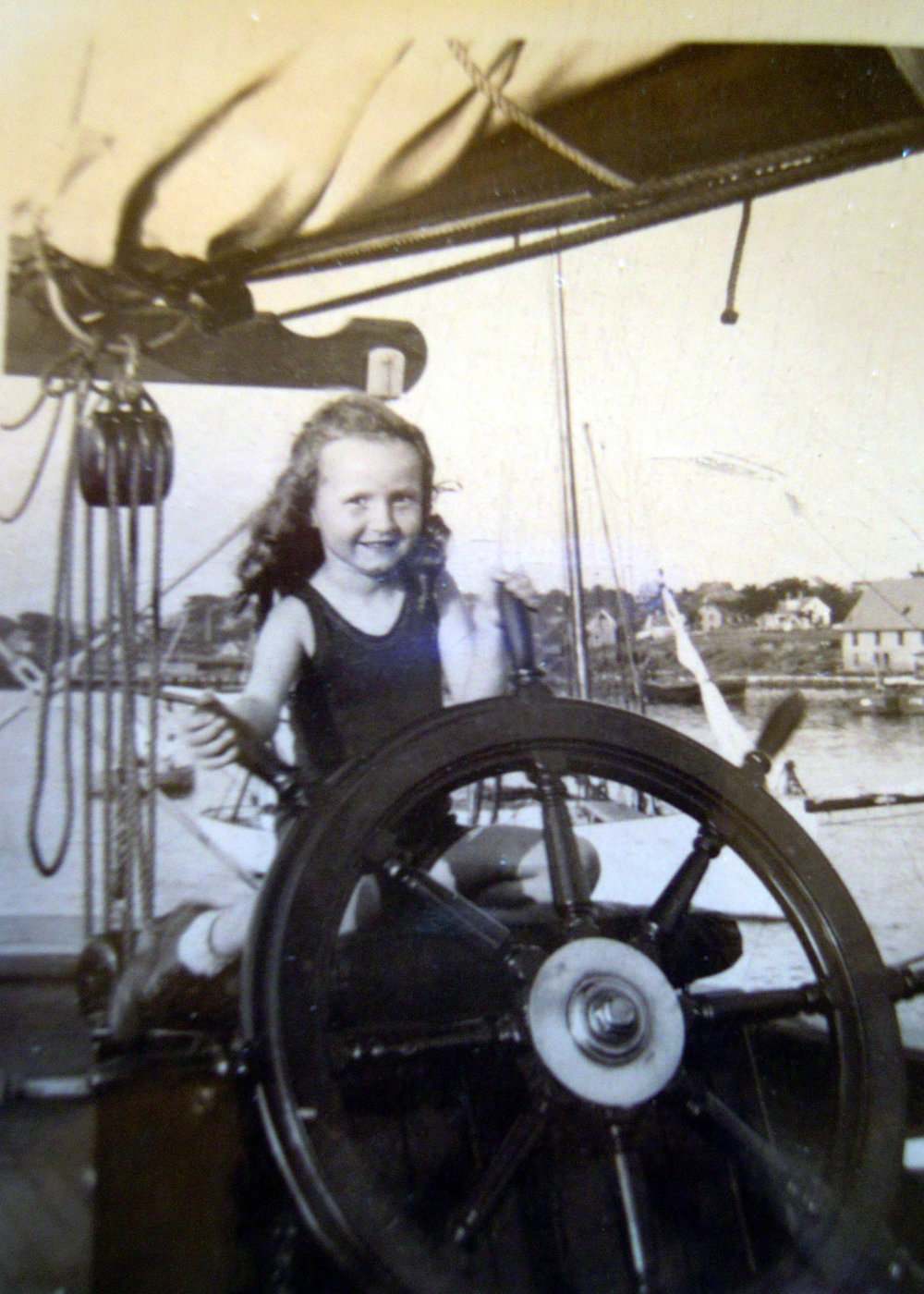 Helen Bird Loring at the helm.
