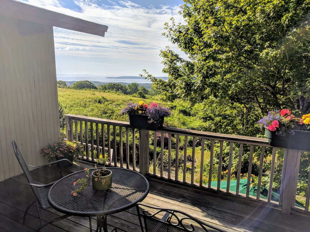 A stunning view of Penobscot Bay from your private balcony.