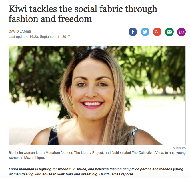 STUFF.CO.NZ - THE MARLBOROUGH EXPRESS - DAVID JAMES - NEW ZEALAND    Article about The Collective Africa with our founder Laura Monahan - September 14th 2017