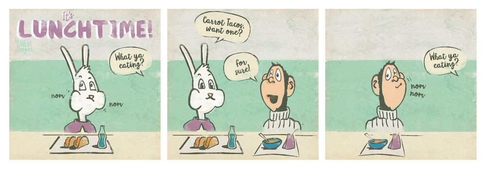 A webcomic about a rabbit eating carrot tacos with a monkey.