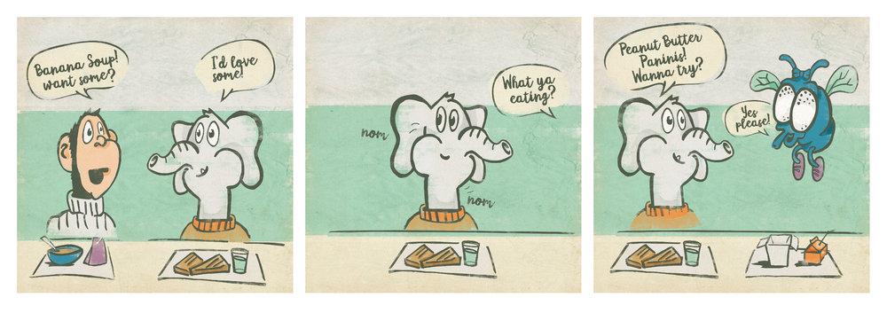 A webcomic about a monkey eating banana soup with an elephant.