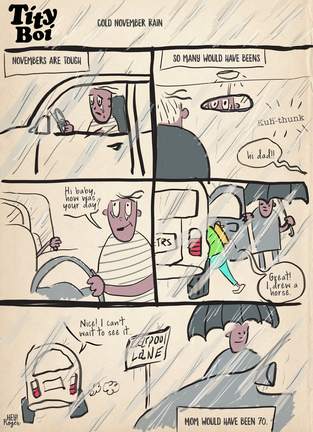 A webcomic about mourning the loss of a parent and raising children.