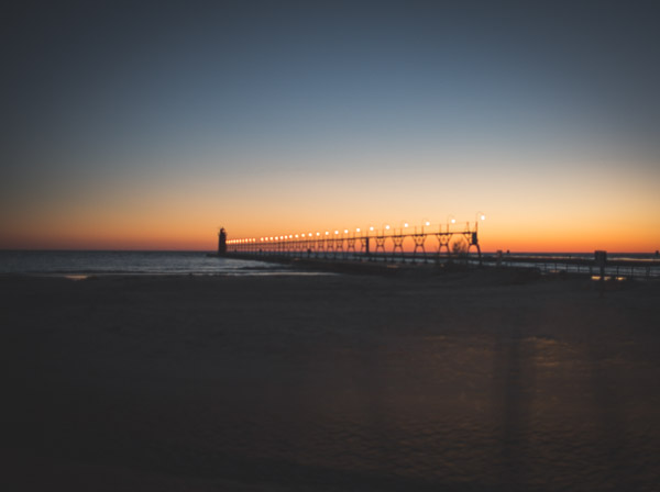 sunset over south haven pier at dusk