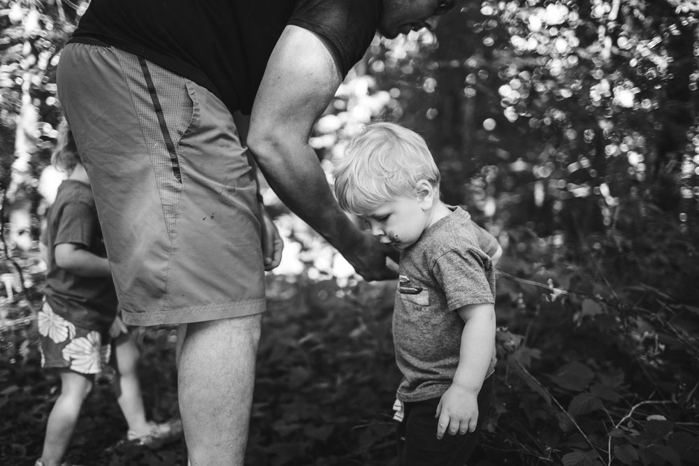 Boy holding hands with father collecting blackberries