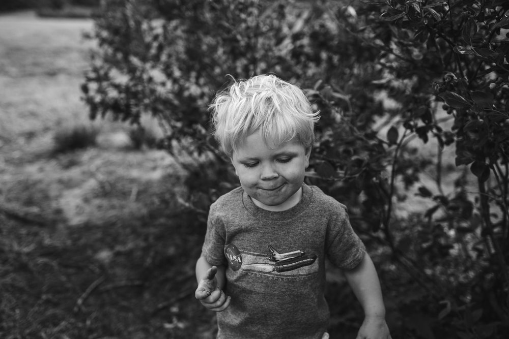 toddler boy joyful with full mouth and belly of blueberries
