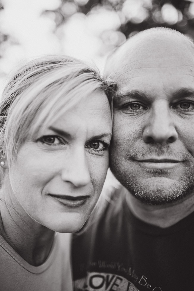 Close-up, wide angle Portrait of husband and wife, black and white