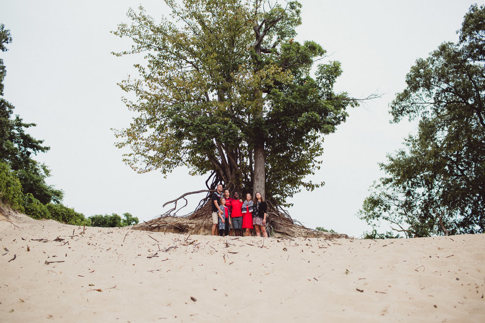 wide angle image of family together beneath large tree at the beach