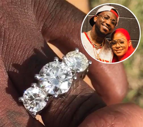 Rapper Gucci Mane Shows Off His Three Stone Diamond Man Gagement Ring Washington Diamond