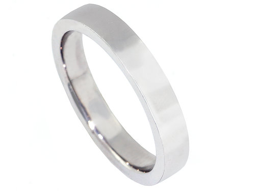 squared edge plain wedding band