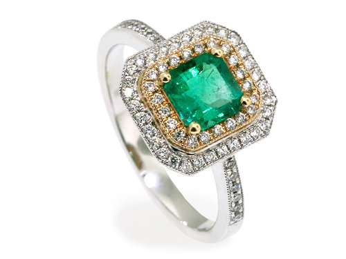 gold stone watches two yellow created ring jewelry carats emerald rings oravo product emrald
