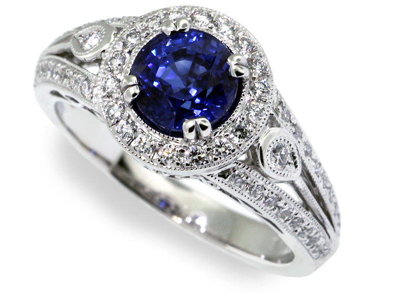 dome gold cluster marquise diamond sapphire pin cocktail ring