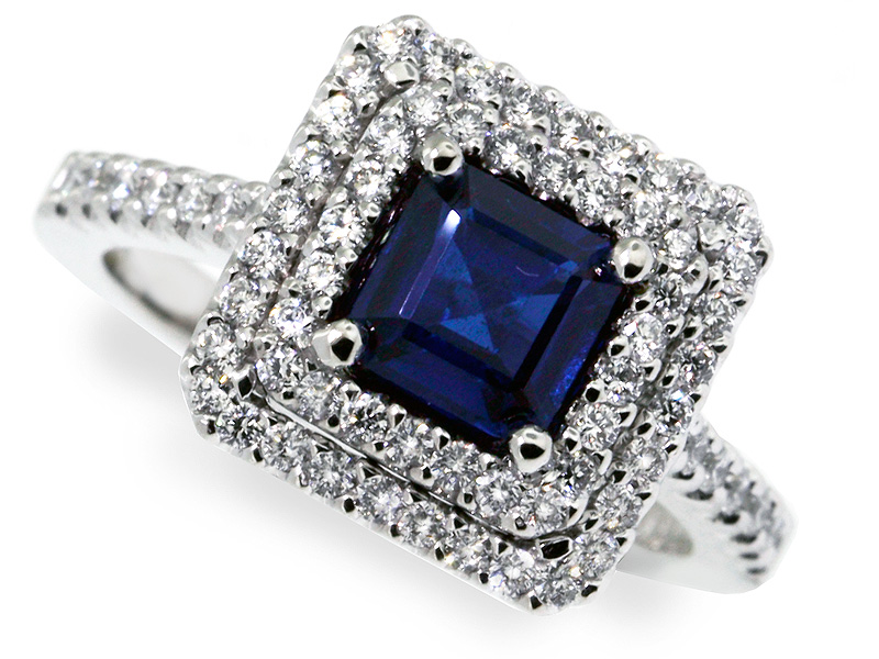 diamond solid certified sapphire blue p gold cocktail vintage ring natural