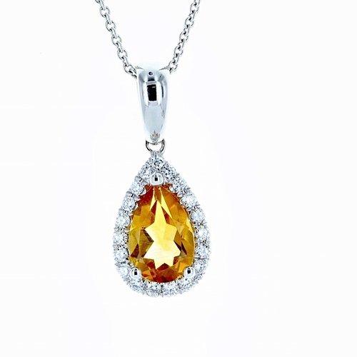 14k white gold pear shaped citrine halo diamond pendant gemstone 14k white gold pear shaped citrine halo diamond pendant mozeypictures Choice Image