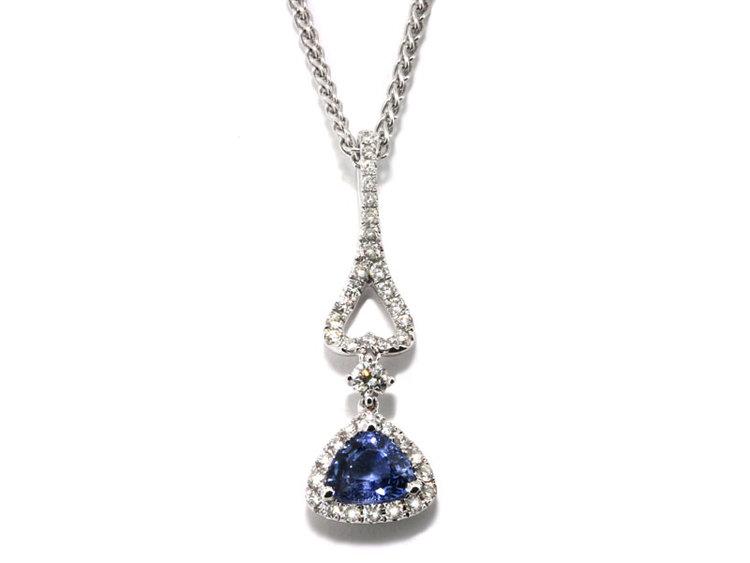 Triangular blue sapphire diamond pendant gemstone pendants triangular blue sapphire diamond pendant aloadofball Gallery