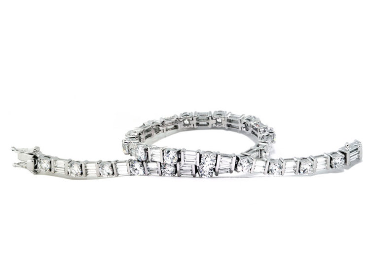 baguette round bracelet diamond and