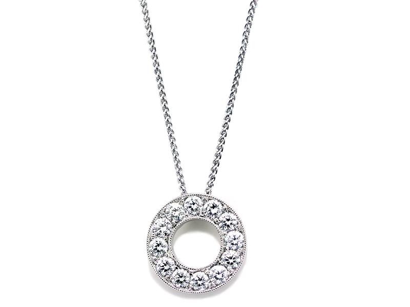 Bead set diamond circle pendant diamond pendants washington diamond bead set diamond circle pendant aloadofball Choice Image