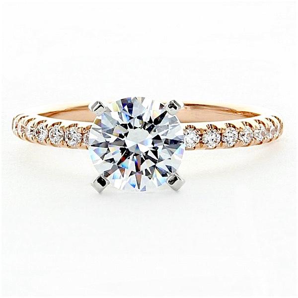 Thin Rose Gold And Platinum Engagement Ring Setting Diamond