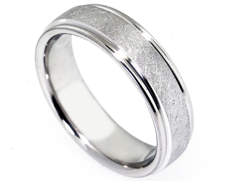 6 5mm Platinum Swirl Wire Brushed And Rounded Edge Men S Wedding