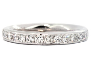 Platinum Bead Set Channel Style Wedding Band