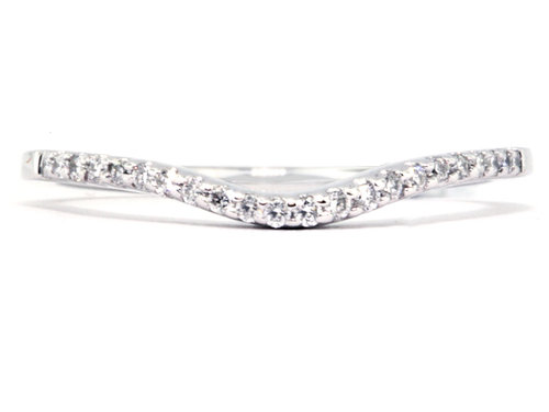 Platinum Curved Style Thin Diamond Wedding Band